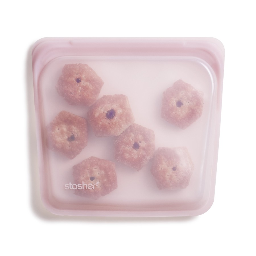 Daugkartinio naudojimo silikoninis stasher sumuštinių maišelis Rožinis kvarcas R00089