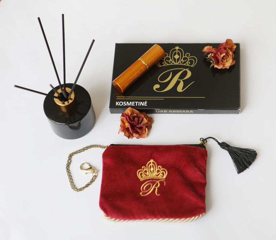 Karališka Kosmetinė  raudonos spalvos R raidė auksinė