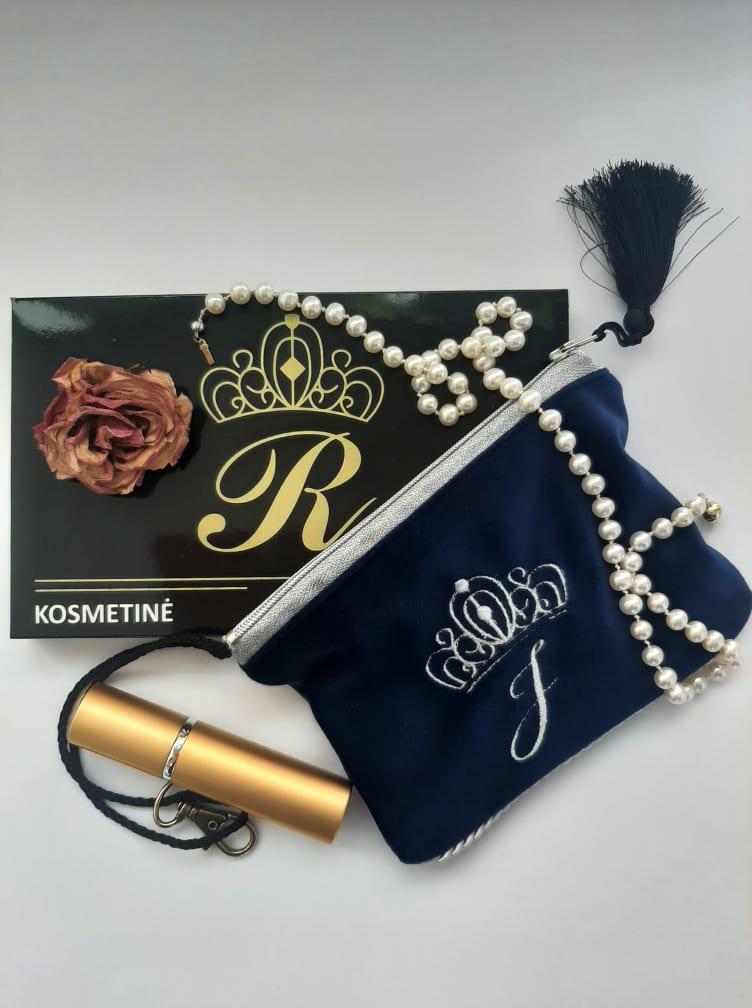Karališka Kosmetinė  mėlynos spalvos J raidė sidabrinė
