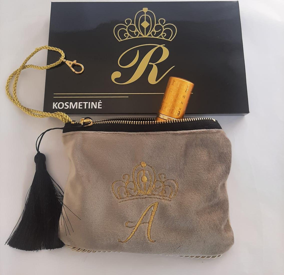 Karališka Kosmetinė balintos kavos spalva A raidė auksinė